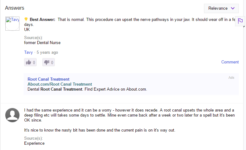 Pain after root canal treatment Yahoo Answer